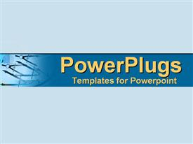 PowerPoint template displaying drafting tools set in business blues in the background.