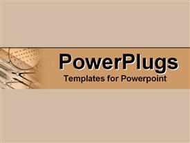 PowerPoint template displaying drafting tools set in cool earth tones in the background.