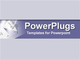 PowerPoint template displaying drafting tools set in cool modern indigo and mauve