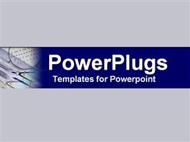 PowerPoint template displaying drafting tools set in energetic cobalt