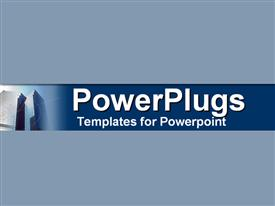 PowerPoint template displaying glowing modern twin towers