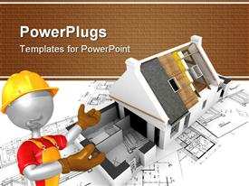 PowerPoint template displaying animated construction worker showing an uncompleted house construction plan