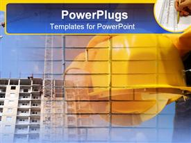 PowerPoint template displaying yellow hard hat in front of large building with hand drawing with ruler in corner