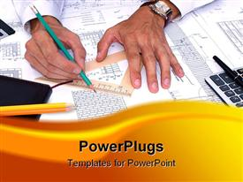 PowerPoint template displaying pair of hands drawing diagram with pencil and ruler