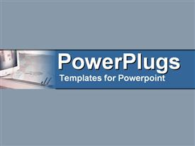 PowerPoint template displaying engineering design with the aid of computer system on blue background