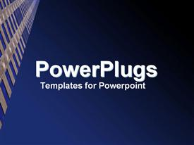 PowerPoint template displaying upward look at clear blue sky and scraper