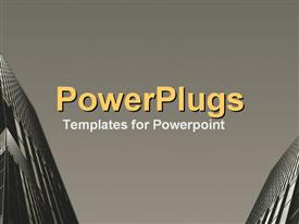 PowerPoint template displaying upward view at facing skyscrapers against sky