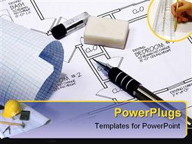 PowerPoint template displaying architecture and construction theme with designer hand, construction tools, yellow hardhat, hammer, calculator, compass, blueprint papers, pen, home drawing, house drawing