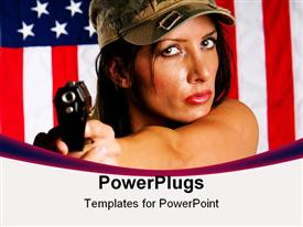 PowerPoint template displaying young woman wearing military uniform pointing with gun. Use of selective focus. Focus in woman