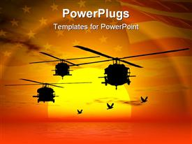 PowerPoint template displaying military helicopters flying over sea sunset sky and American flag i background
