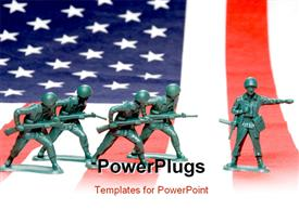 PowerPoint template displaying group of toy soldiers on an American flag