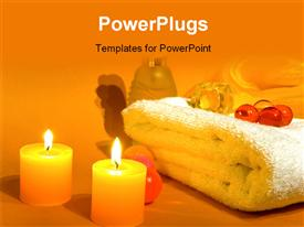 PowerPoint template displaying aromatherapy with burning candles white towel and ingredient in the background.
