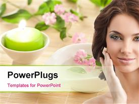 PowerPoint template displaying aromatherapy with little bowl flowers and candle in the background.