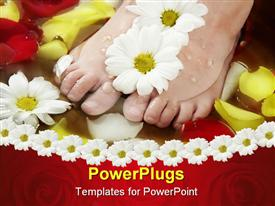 PowerPoint template displaying a pair of feet with flowers and water