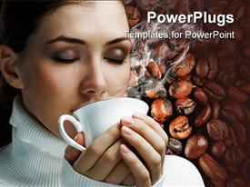 Woman with an aromatic coffee in hands presentation background