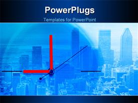 PowerPoint template displaying clock with red clock hands over large modern city with skyscrapers