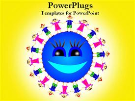 PowerPoint template displaying happy sun surrounded with children holding hands