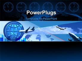 PowerPoint template displaying a number of airplanes with a globe