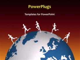 Running around the World powerpoint design layout