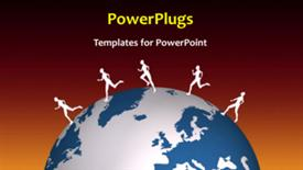 PowerPoint template displaying a short video showing some characters running on an earth globe - widescreen format