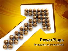 PowerPoint template displaying abstract 3D arrow symbol built from golden balls