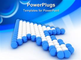 PowerPoint template displaying lots of blue and white balls arranged to form the shape of an arrow