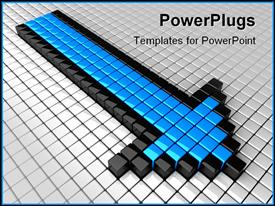 PowerPoint template displaying blue high arrow and many white boxes in the background.