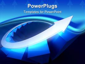 PowerPoint template displaying 3D diagram of glowing blue bars and silver arrow rising up the diagram depicting growth