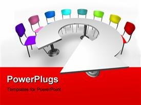 Arrow table With Rainbow Chairs powerpoint design layout