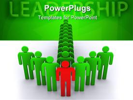 PowerPoint template displaying arrow formed by green colored human figures with a red one in front