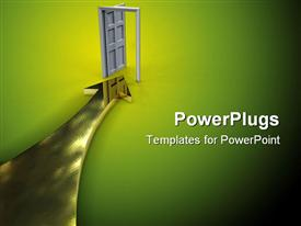 PowerPoint template displaying gold arrow threw door to new opportunities in the background.