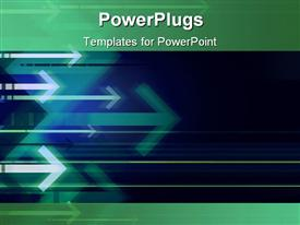 PowerPoint template displaying series of blue arrows on dark background with green top and bottom borders