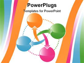 PowerPoint template displaying four colorful spheres with colorful arrows interconnecting them in white background