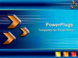 PowerPoint template displaying orange arrows and shapes over blue background. Business in the background.