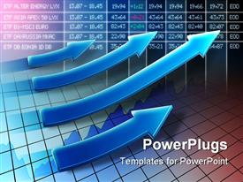 PowerPoint template displaying digital display of stock market with four different sized arrows showing positive trend