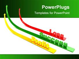 PowerPoint template displaying three colorful ascending arrows with the text Success, Profit and Loss