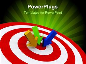 PowerPoint template displaying three varied colored arrows on target - rendered in 3D