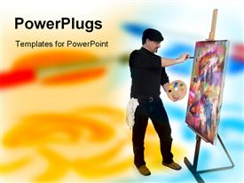 Artist painting powerpoint design layout