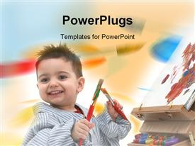 PowerPoint template displaying cute small male kid holding two paint brushes with a canvas