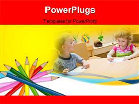 PowerPoint template displaying colored pencils for school and kids