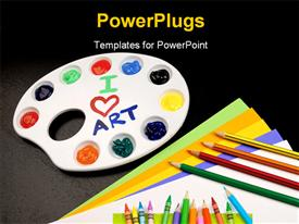 Picture of common art supplies that you might find in a child classroom presentation background