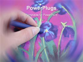 PowerPoint template displaying hand Drawing A Violet Flower With Crayon