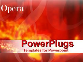 PowerPoint template displaying abstract depiction of musical notes on  red fiery background