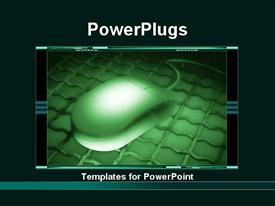 PowerPoint template displaying lCD screen showing dark green mouse on iron plate