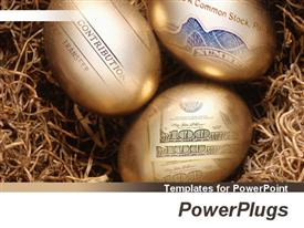 PowerPoint template displaying three golden eggs with depictions of bills and accounting