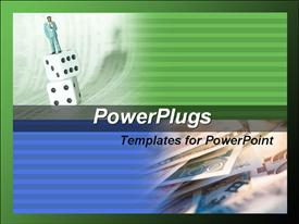 Businessman standing on the dice. Several currencies template for powerpoint