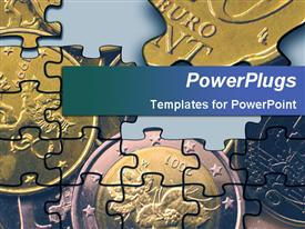 PowerPoint template displaying partly assembled jigsaw puzzle depicting euro coins