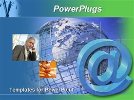 Email sign and a businessman talking on a cell phone over a silver metal globe template for powerpoint