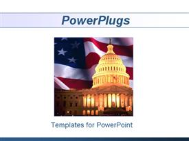 PowerPoint template displaying uS Capitol with American flag background, Congress, politics, political, Washington DC