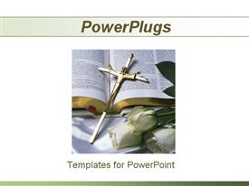 PowerPoint template displaying gold crucifix on bible with white roses, religion, Christianity, faith, church
